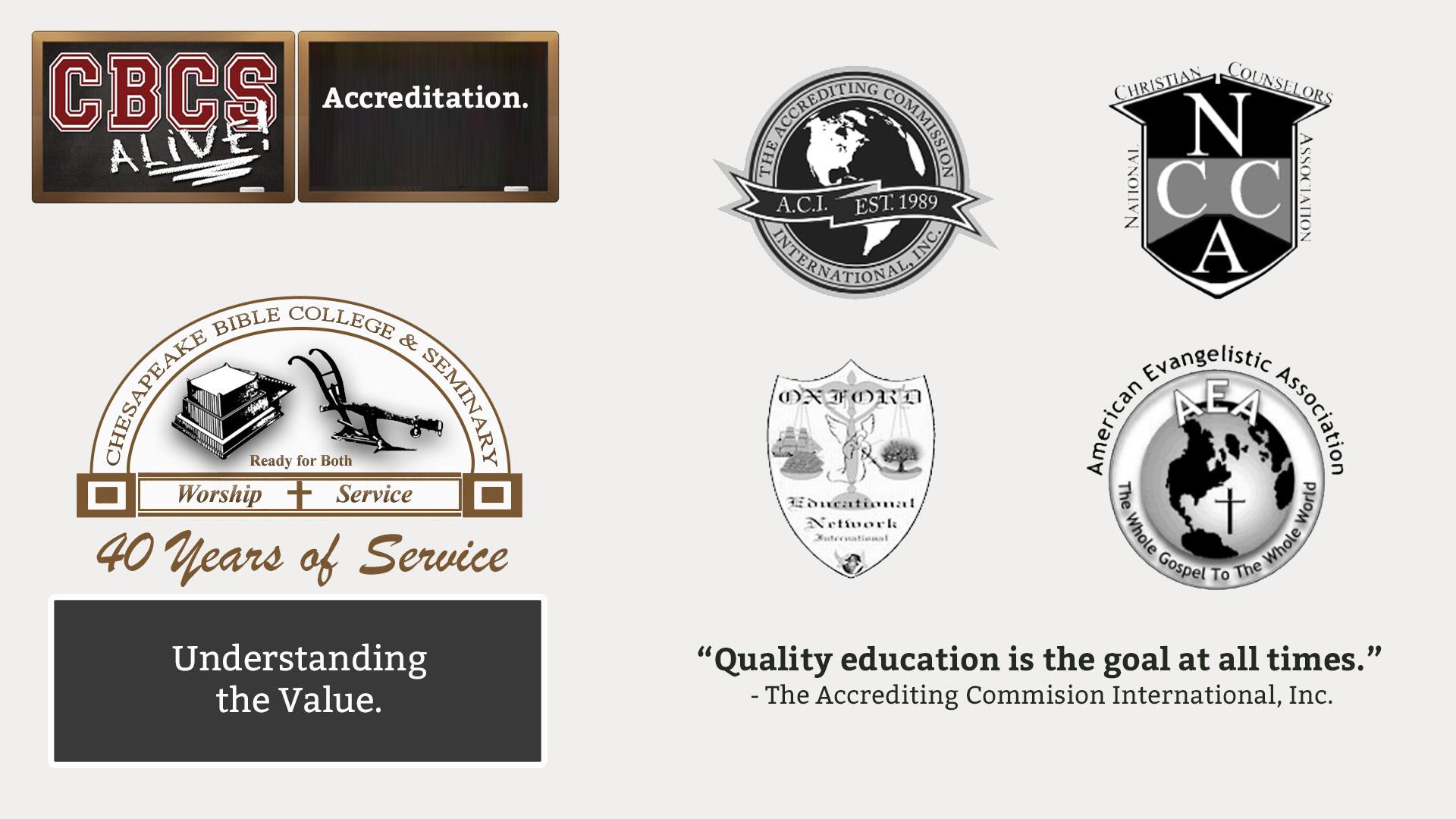 Chesapeake Bible College & Seminary - Accreditation