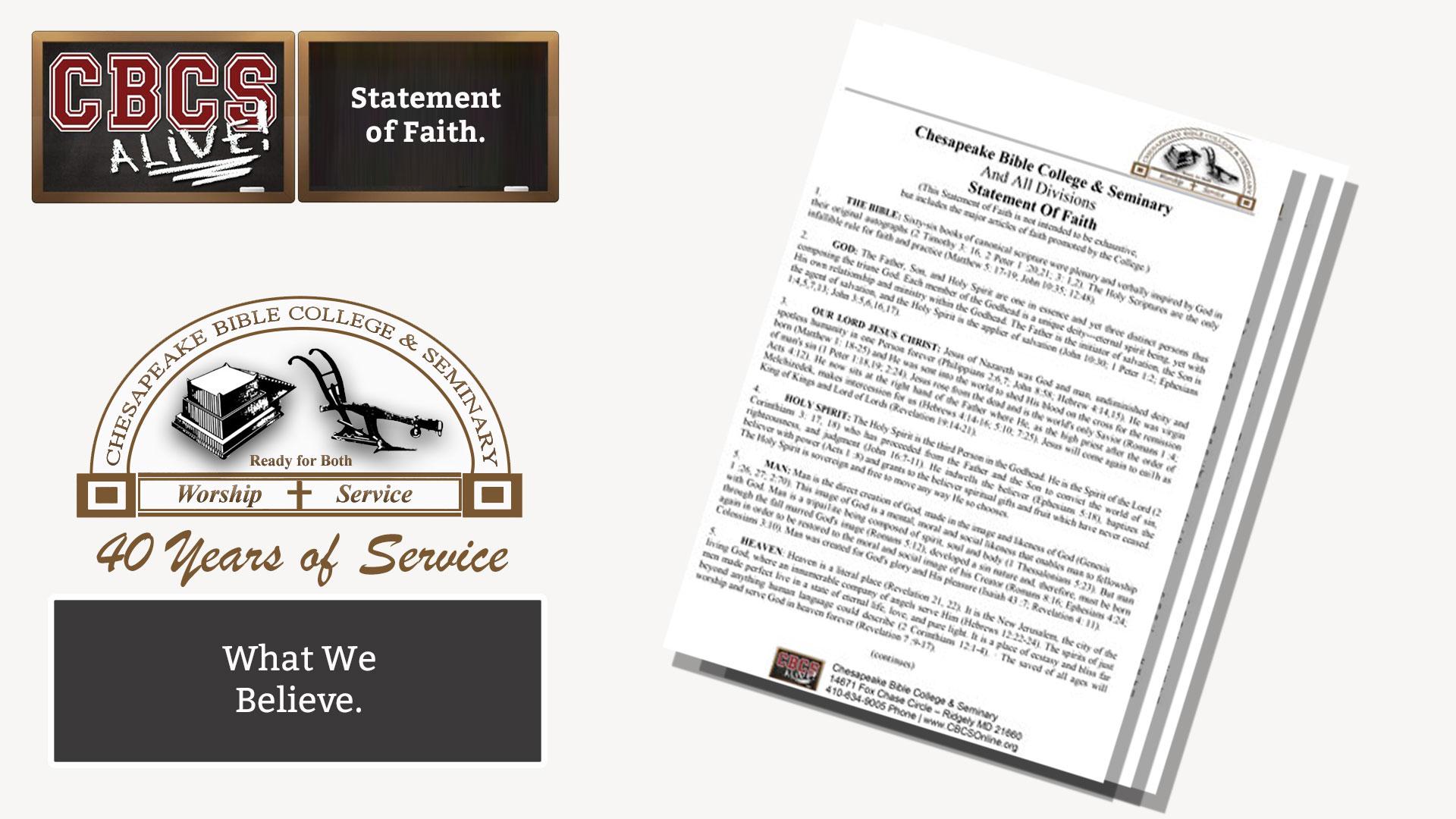 Chesapeake Bible College & Seminary - Statement of Faith