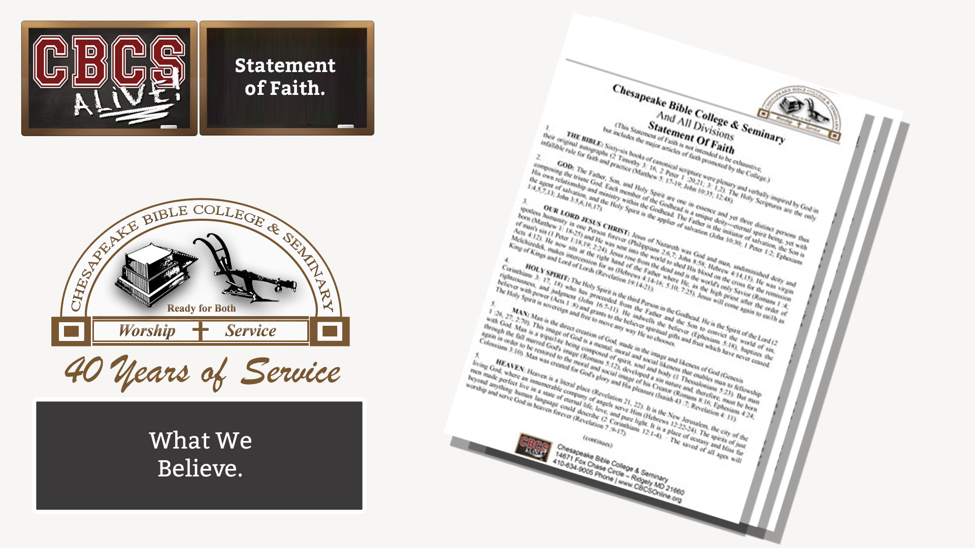 Chesapeake Bible College & Seminary - Statement of Faith