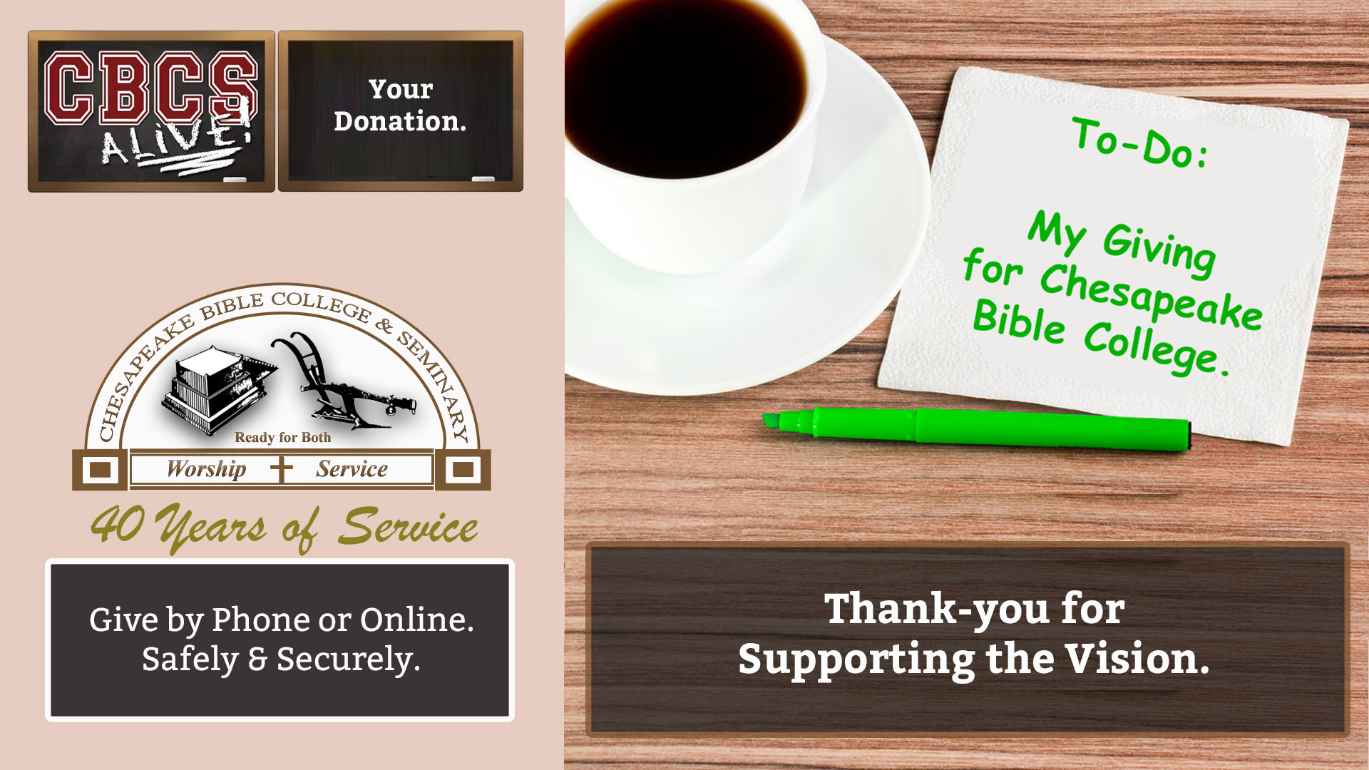 Chesapeake Bible College & Seminary - Your Donation